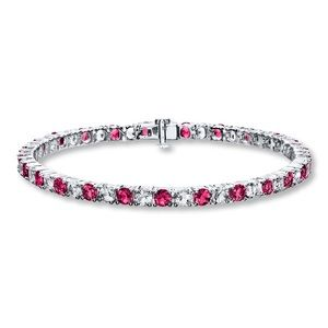 Jewelry - Pink sapphire and white diamond Tennis bracelet